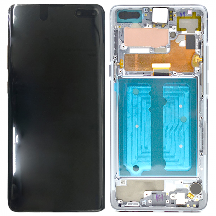 Galaxy S10-5G G977 Service Pack LCD Display & Touch Replacement Crown Silver